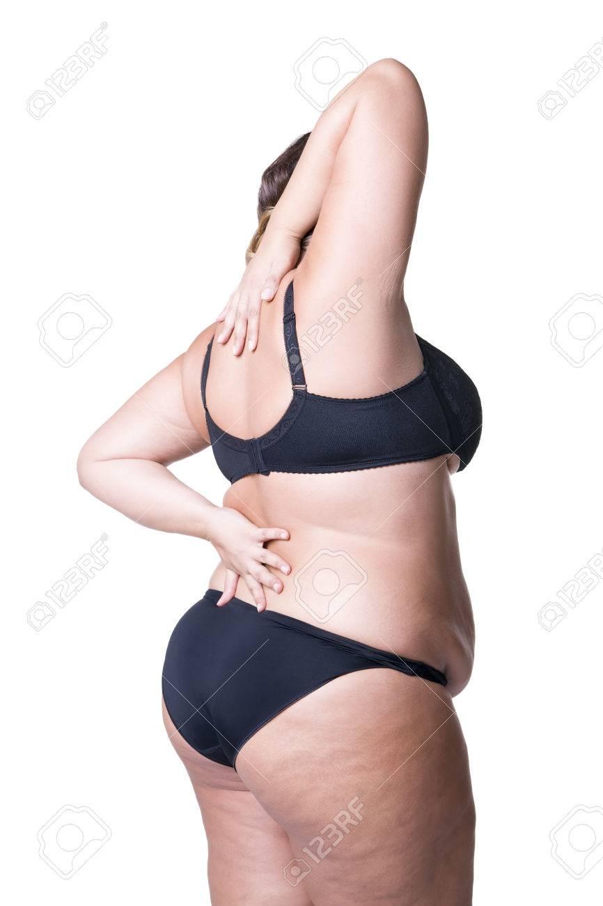 ランジェリーモデル プラスのサイズの黒のランジェリー モデル、女性の身体を太りすぎ、