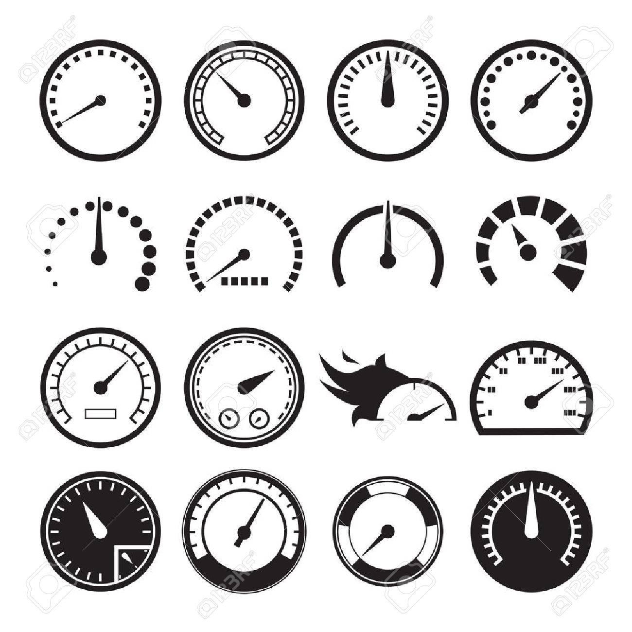 Set of speedometers icons. Vector illustration - 55118968