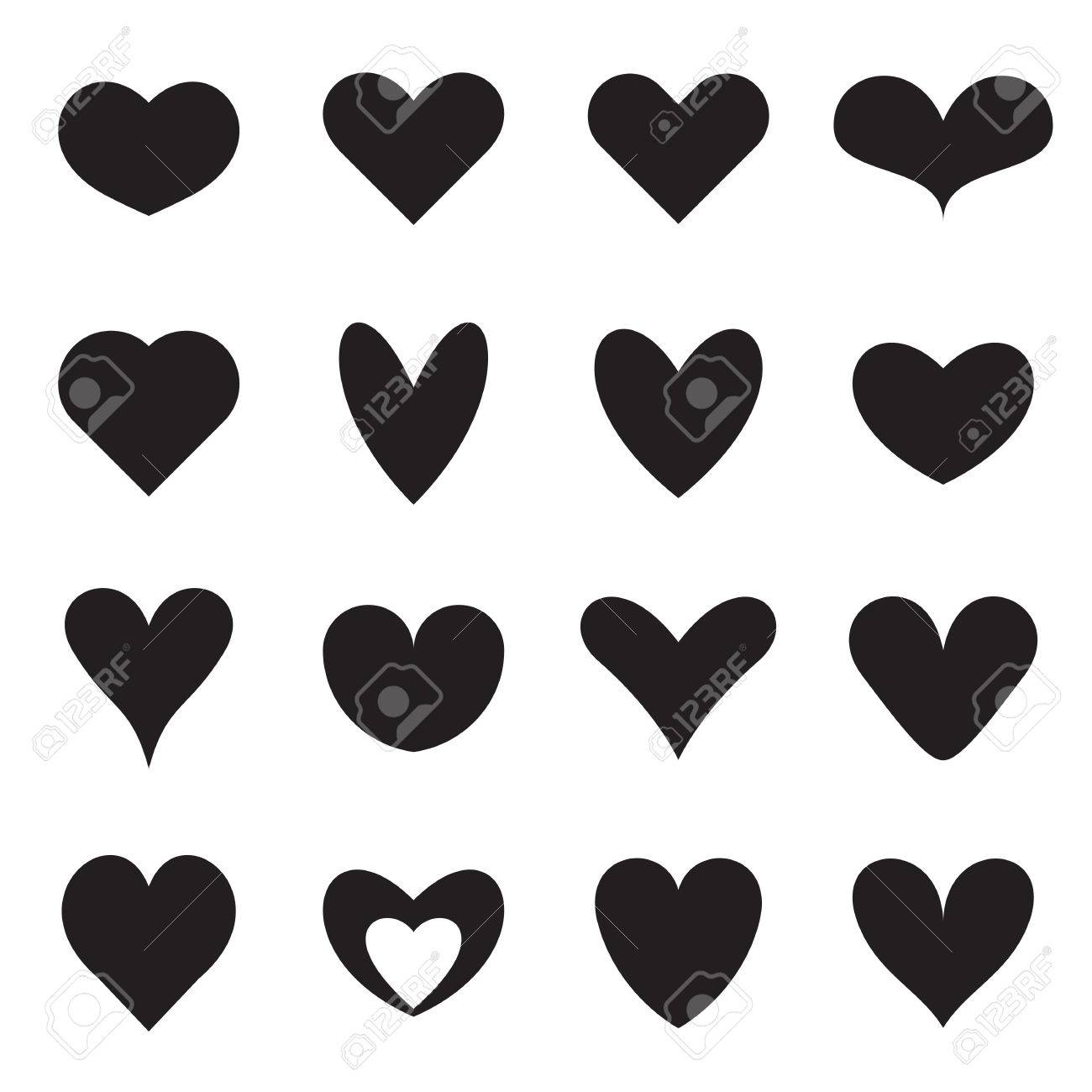 Heart symbol shapes set of sixteen different symmetrical templates heart symbol shapes set of sixteen different symmetrical templates of heart symbols for icons buycottarizona Images