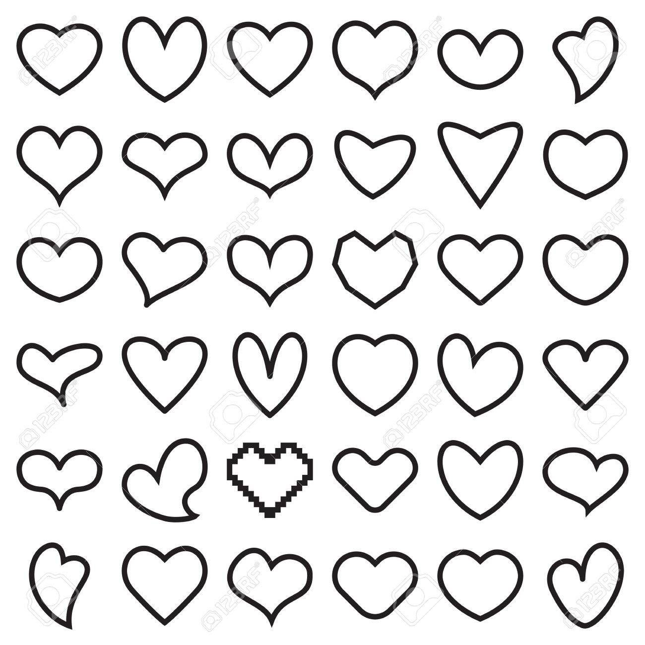 Linear Heart Symbol Icons Vector Illustration Royalty Free Cliparts
