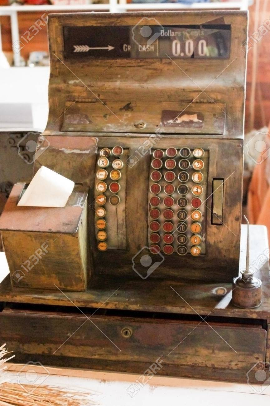 A Vintage Wooden Cash Register From An Old Country General Store