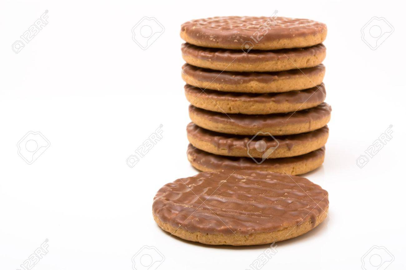 Stack of Chocolate Digestive biscuits isolated against white background. Stock Photo - 6641312