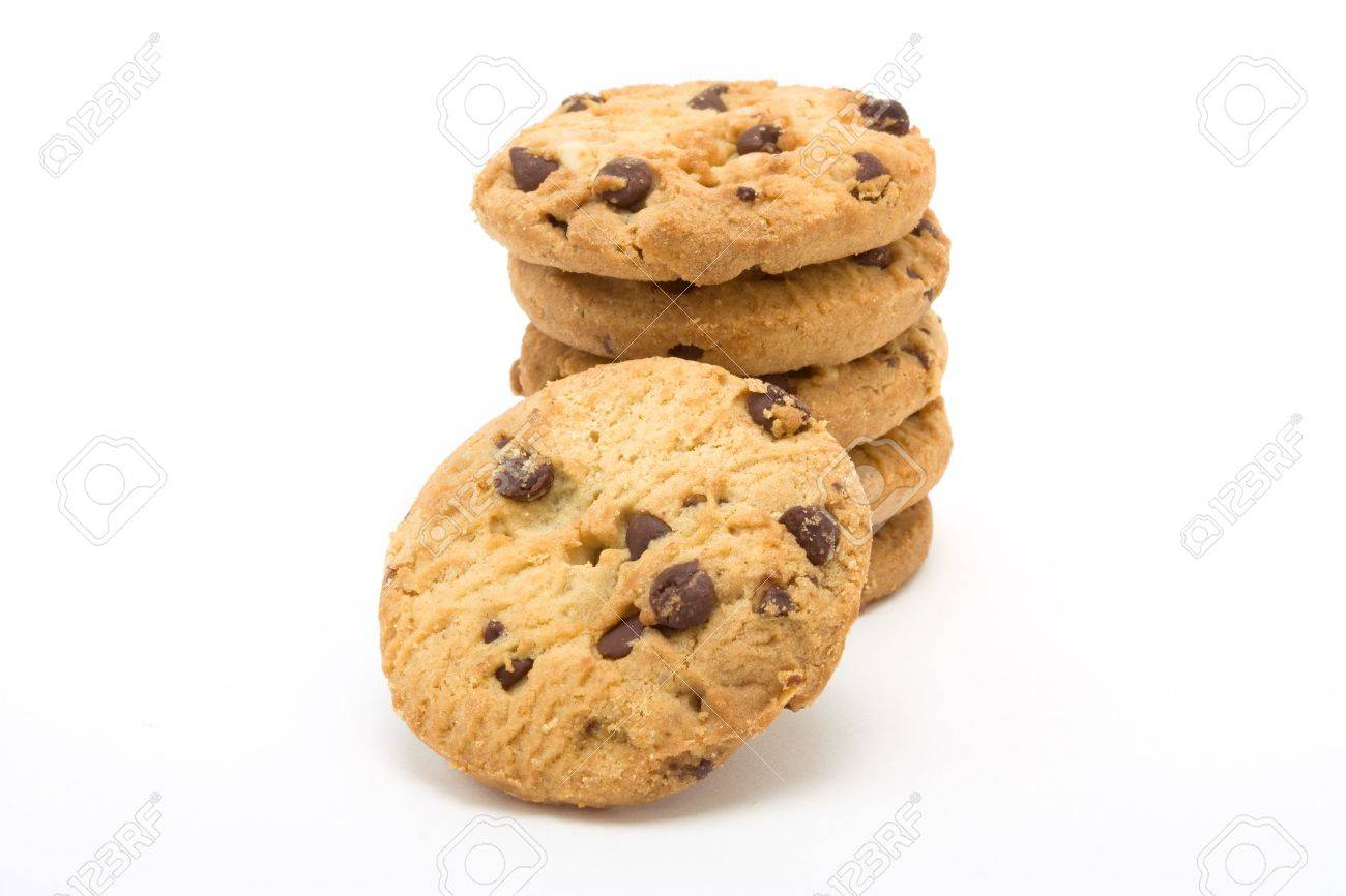 Tower of Choc Chip n Hazelnut Biscuits from low viewpoint isolated against white background. Stock Photo - 6692773