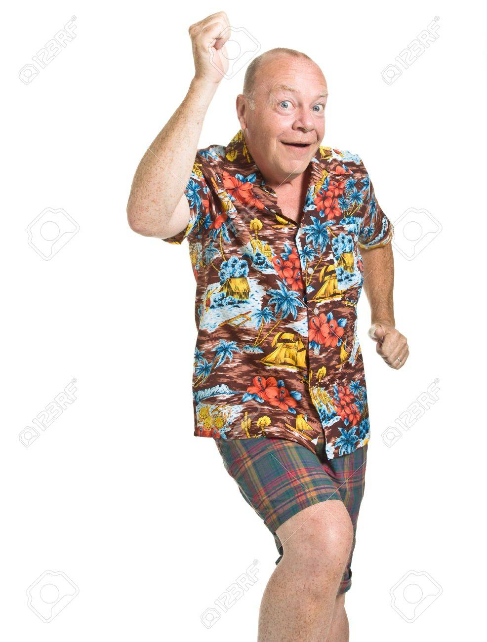 a4eb5045 Expressive old man in loud shirt holiday concept isolated against white.  Stock Photo - 7380237