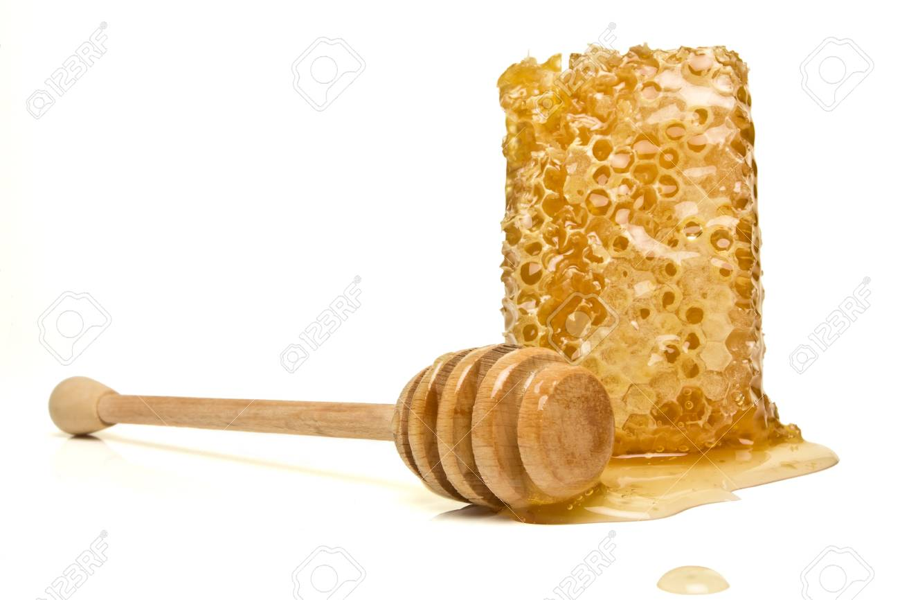 Natural Honeycomb from low perspective isolated on white. Stock Photo - 7740659