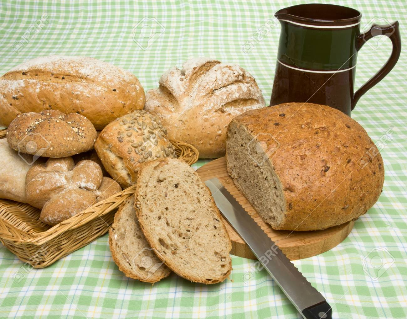 A selection of rustic organic handmade gourmet breads. Stock Photo - 7987925
