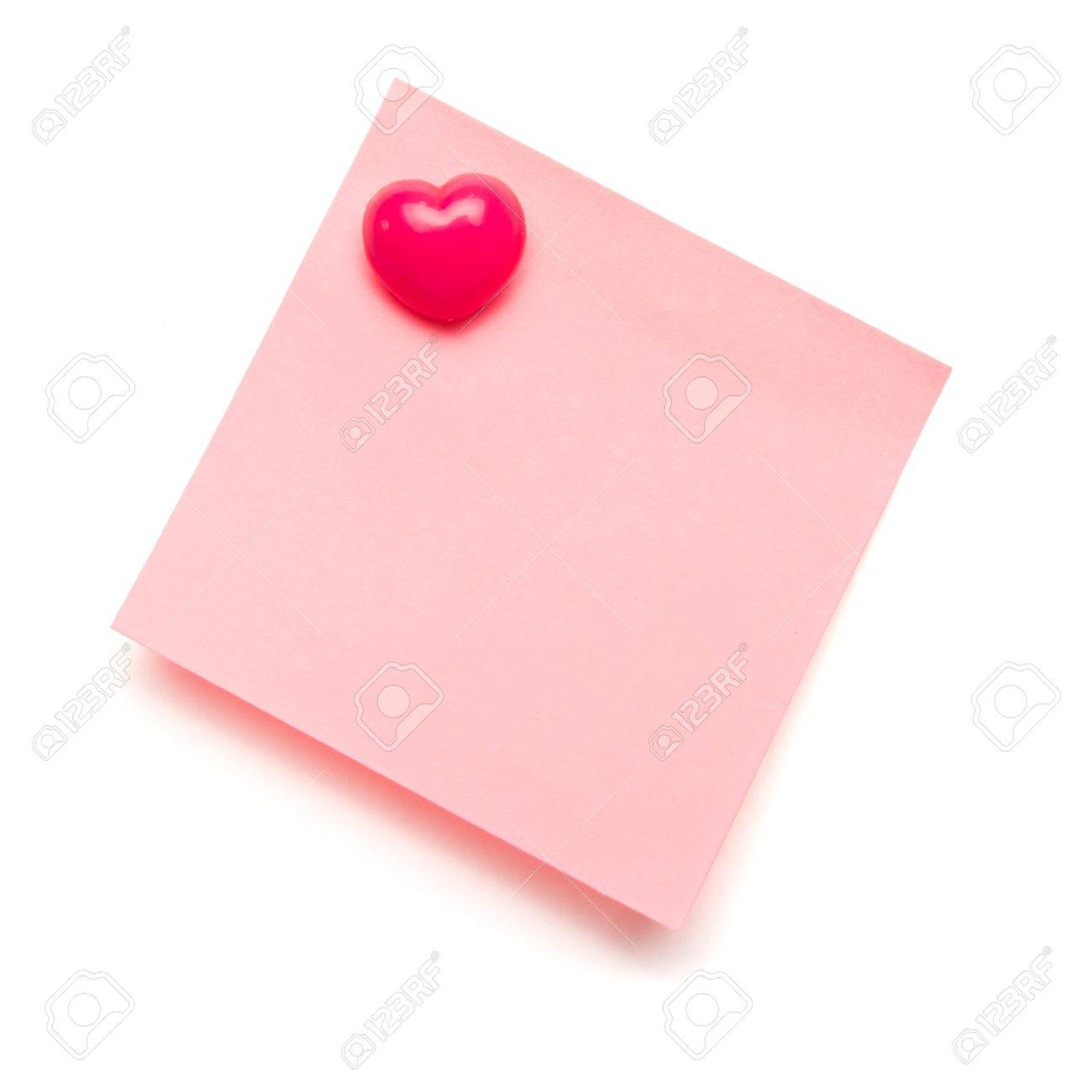 Light pink self adhesive post it note with heart shape push pin on white. Stock Photo - 8329424