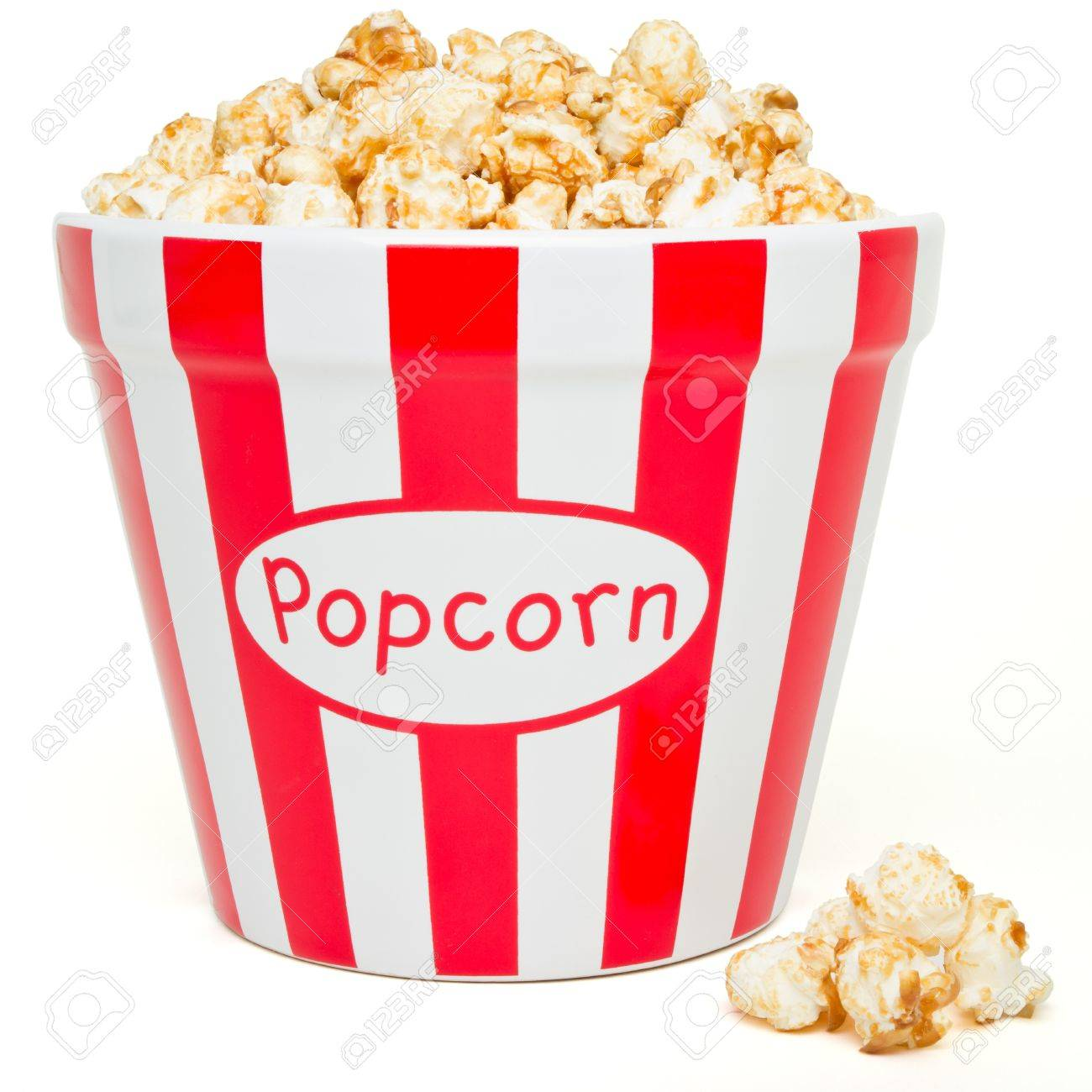 red and white bowl of popcorn from low perspective isolated on white. Stock Photo - 8479678