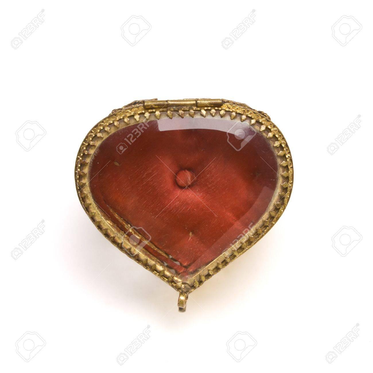 Vintage ornate heart shape Trinket box isolated on white. Stock Photo - 8801155