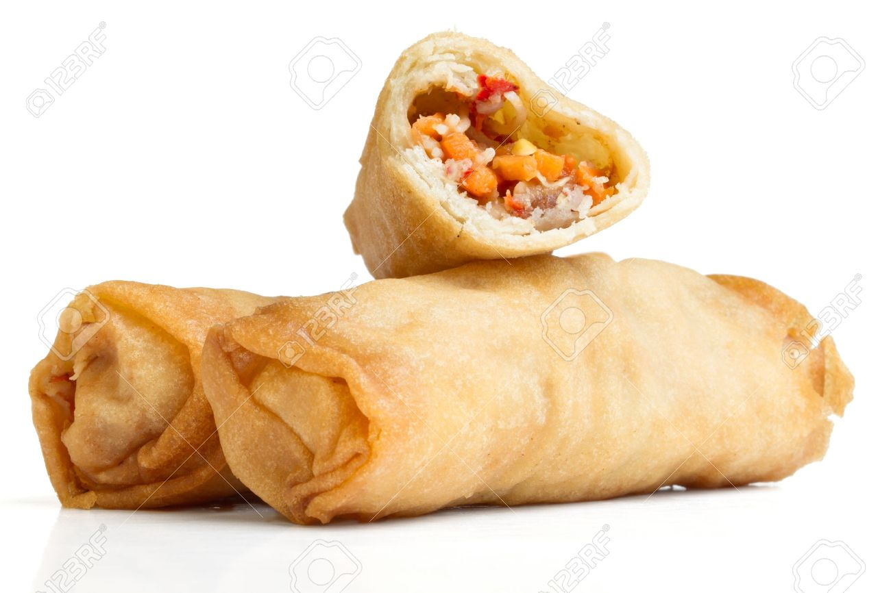 Spring Roll also known as  Egg Roll isolated on white. Stock Photo - 9342413