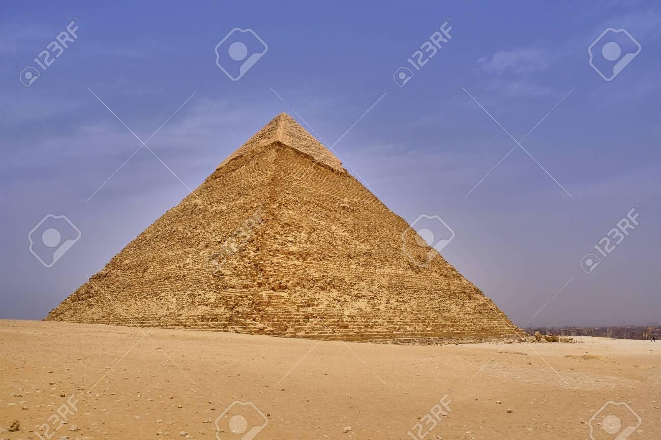 The Great Pyramid of Giza (Pyramid of Khufu or Pyramid of Cheops) in the Giza pyramid complex in Cairo, Egypt - 146754197