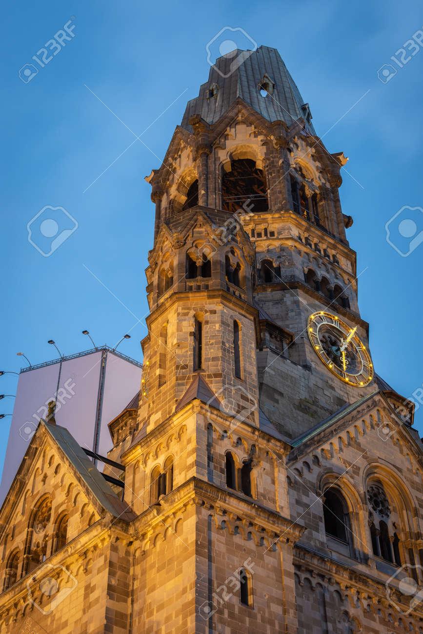 The Kaiser Wilhelm Memorial Church in Breitscheidplatz in Berlin, Germany. It was badly damaged in Second World War bombing raid - 158585330