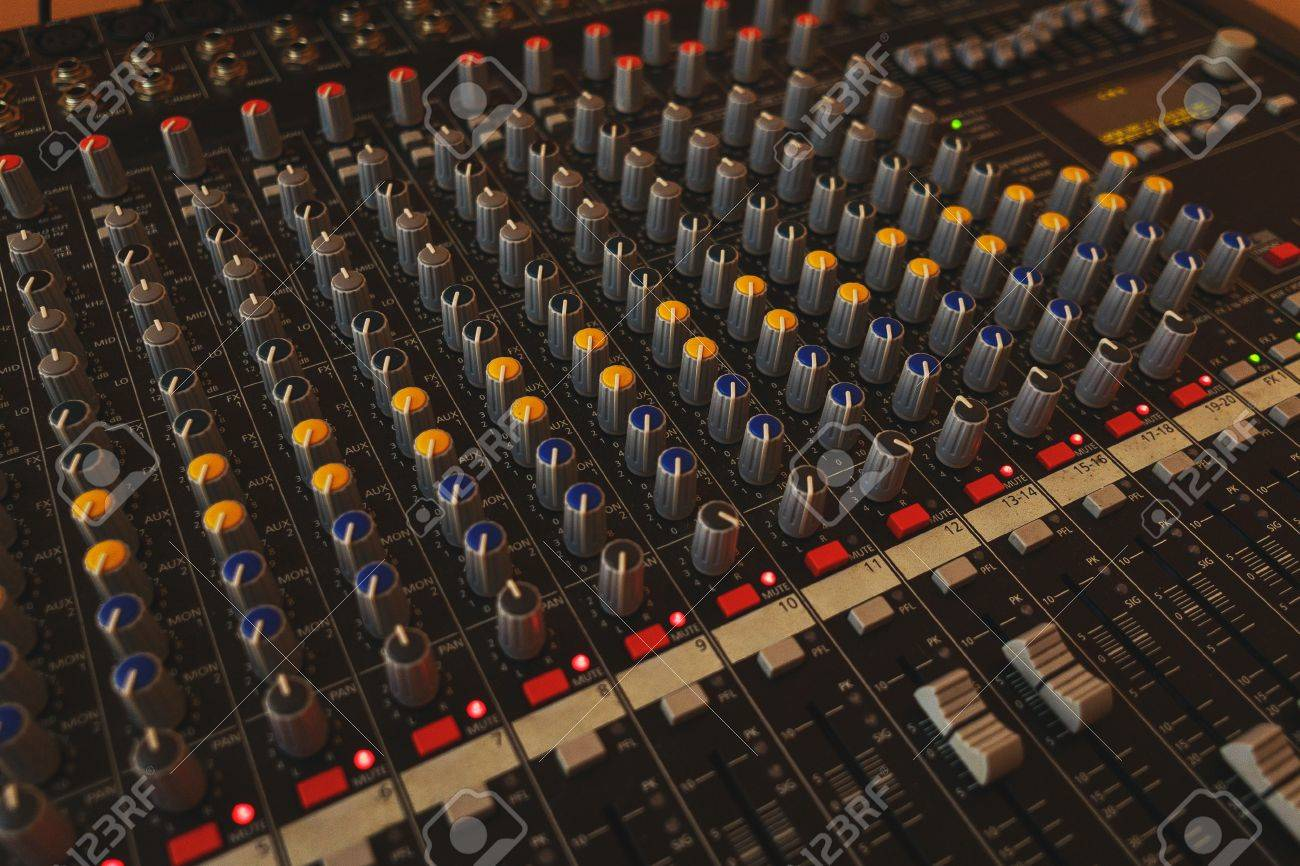 Music equipment closeup  Management console sound design at the