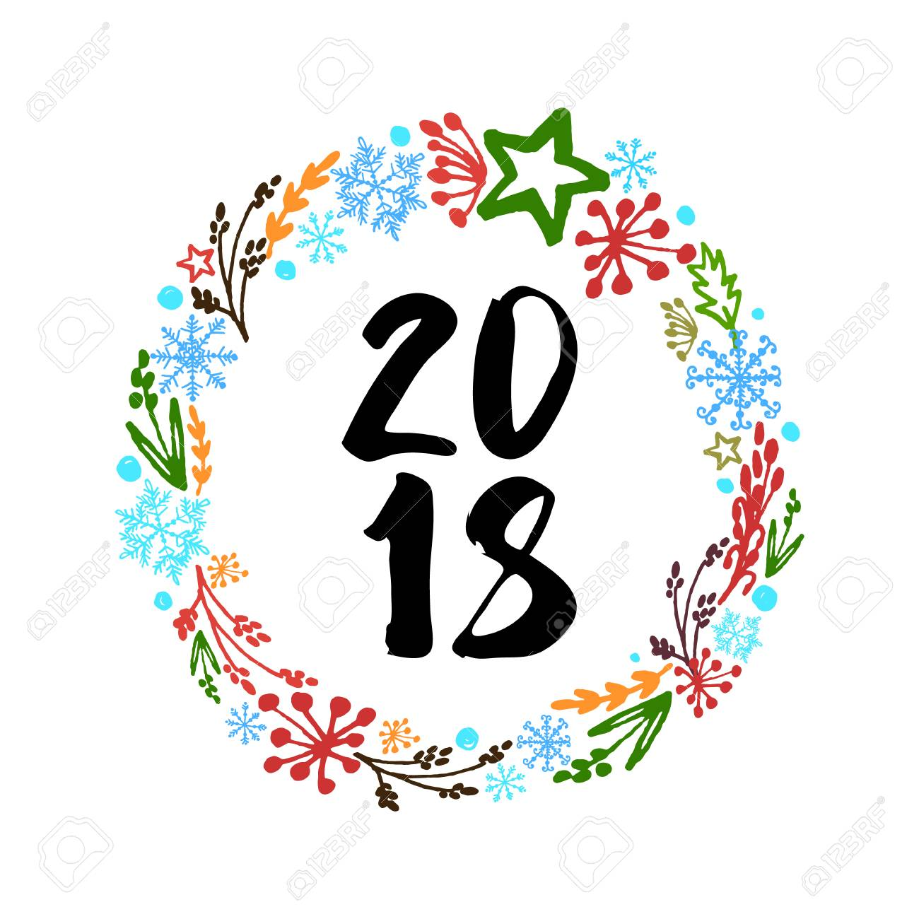 Greeting Card Happy New Year And Merry Christmas. Decorative ...