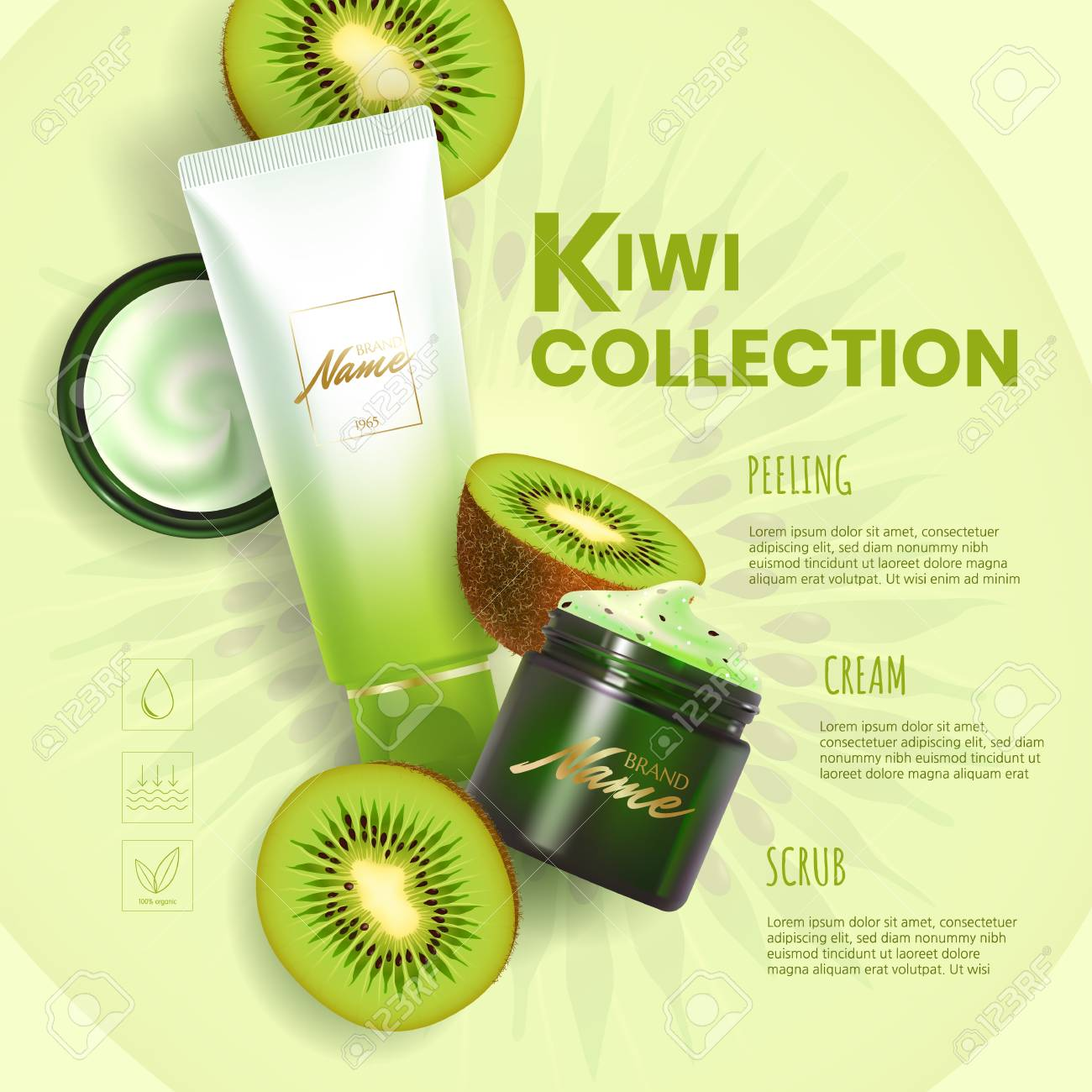 Design advertising poster for cosmetic product for catalog, magazine. Vector design of cosmetic package.Moisturizing cream, gel, scrub, body lotion with kiwi extract. - 110532565