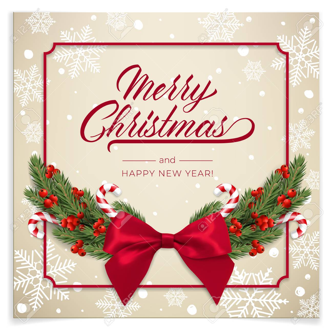 Holiday\'s Background For Merry Christmas Greeting Card With A ...