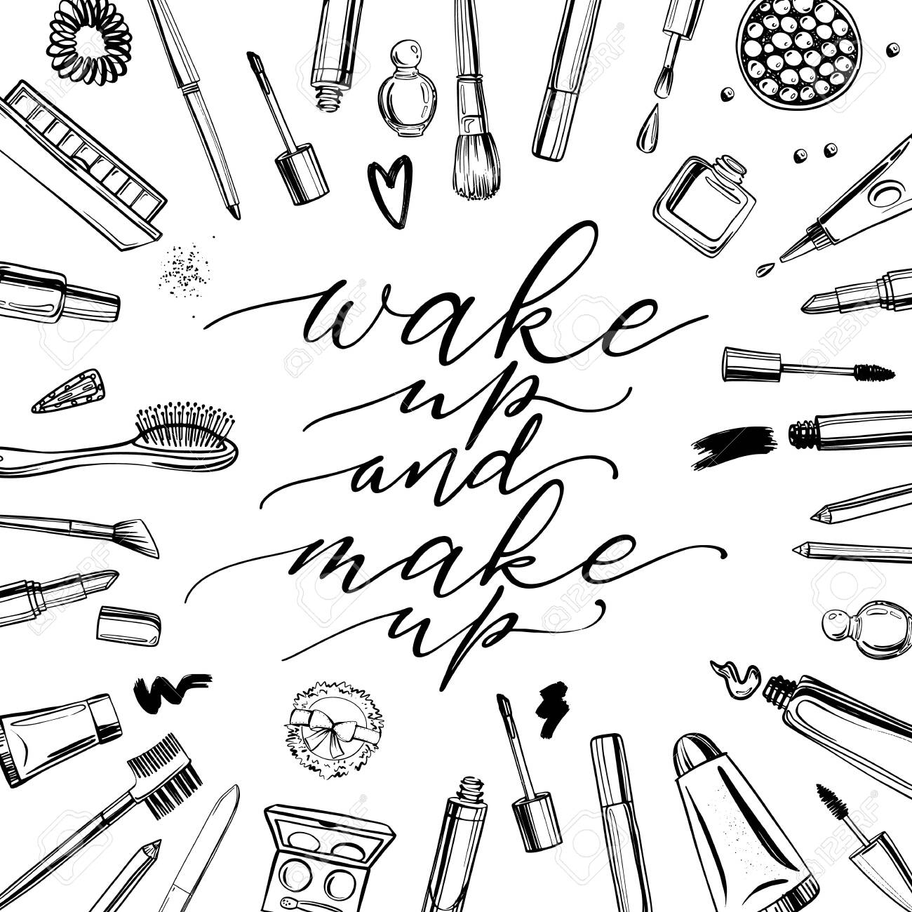 Black and white cosmetics background with lettering wake up and make up. Hand drawn decorative cosmetics set - 124142777