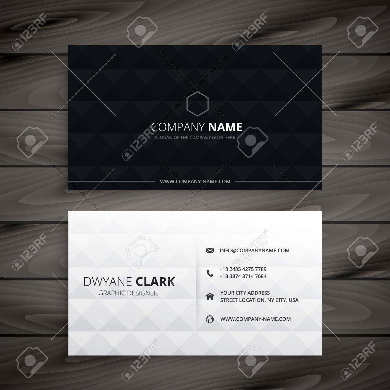 simple black and white diamond business card - 55077628
