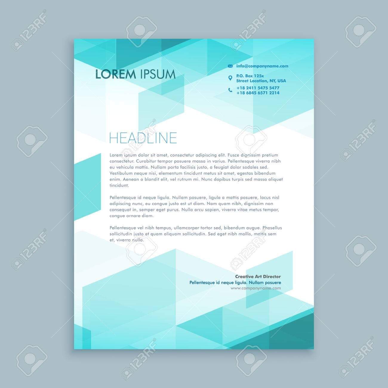 creative modern letterhead template with abstract shapes royalty