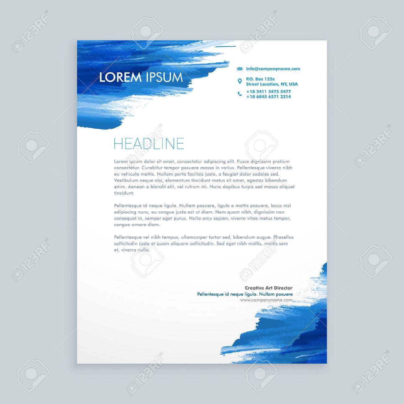 Blau Fließende Tinte Briefkopf Vorlage Lizenzfrei Nutzbare