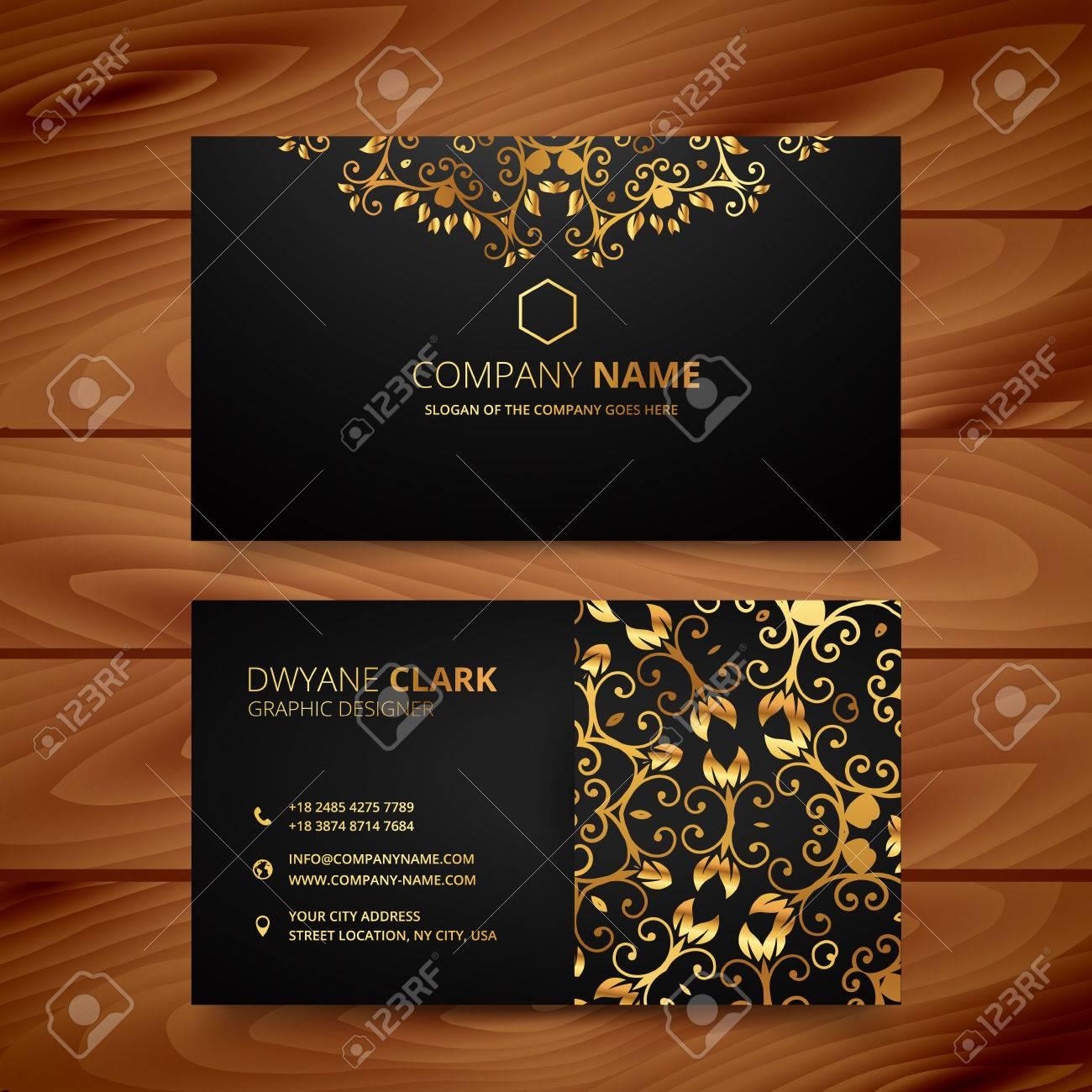 stylish golden premium luxury business card template design - 56177942
