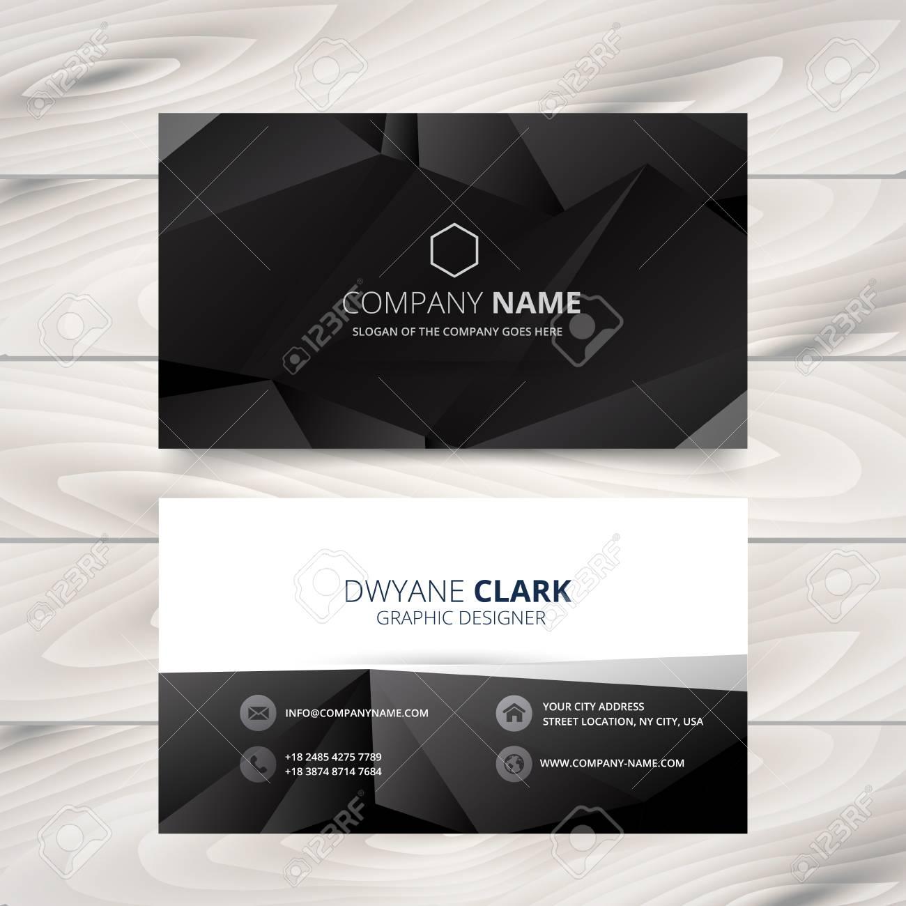 Dark Modern Business Card Design Illustration Royalty Free Cliparts ...