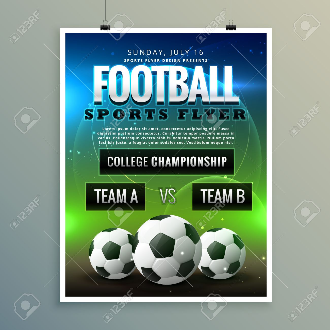 soccer football poster flyer template royalty free cliparts vectors
