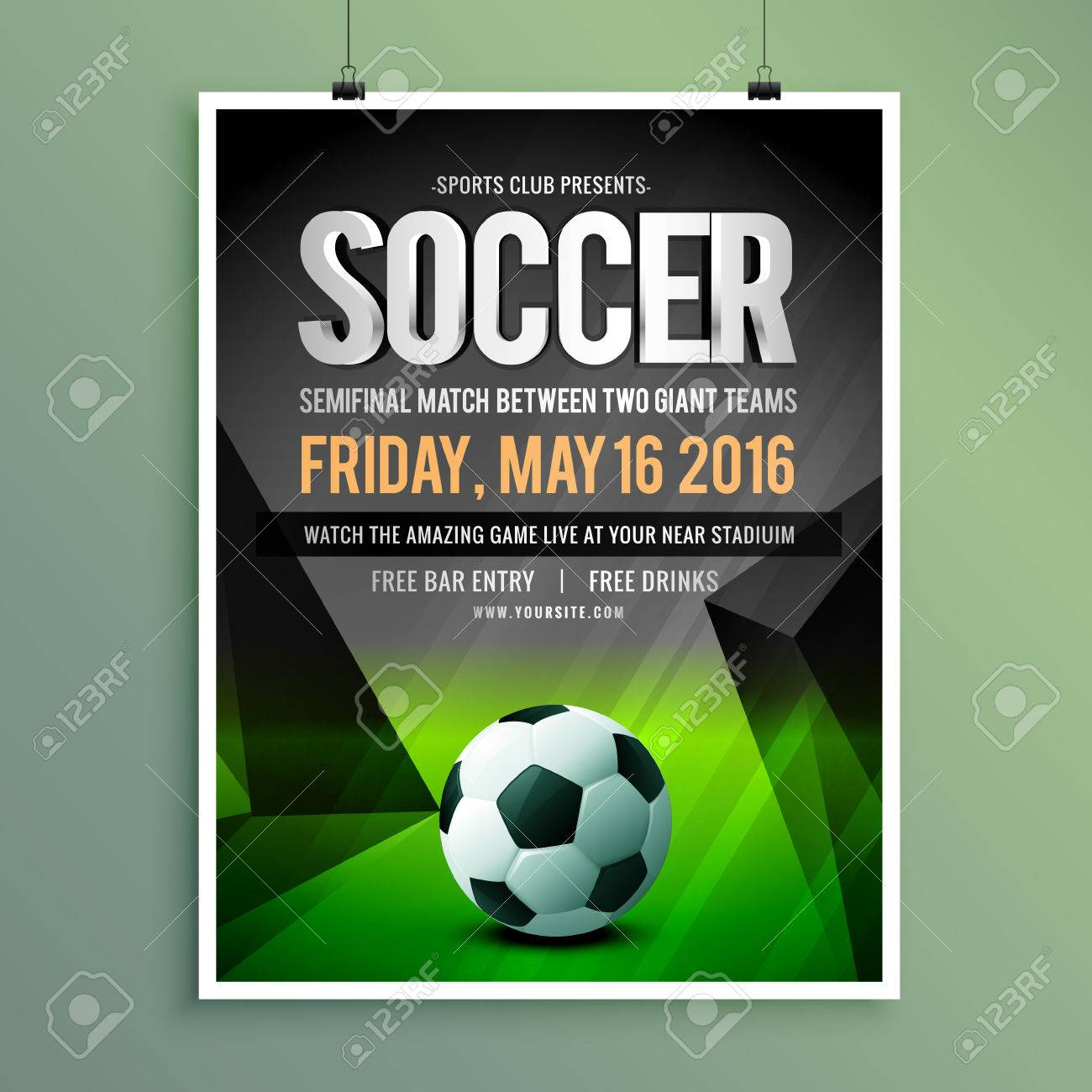 Soccer Game Flyer Template Design Royalty Free Cliparts Vectors – Soccer Flyer Template