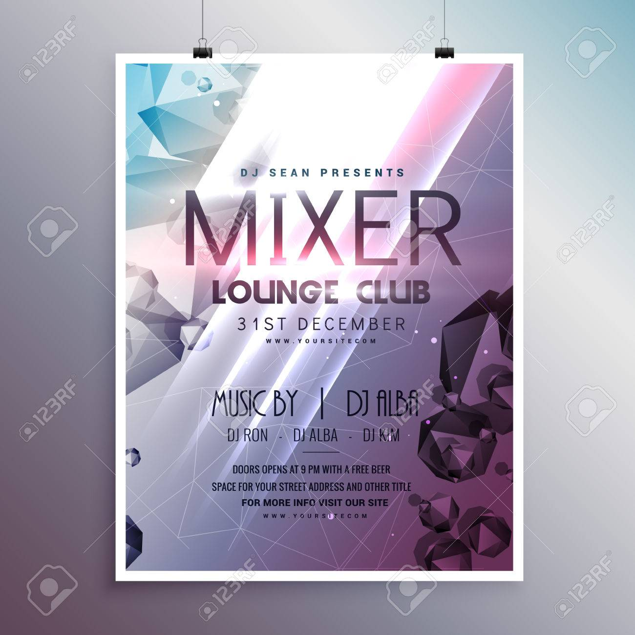 flyer poster template card with promotional details royalty free