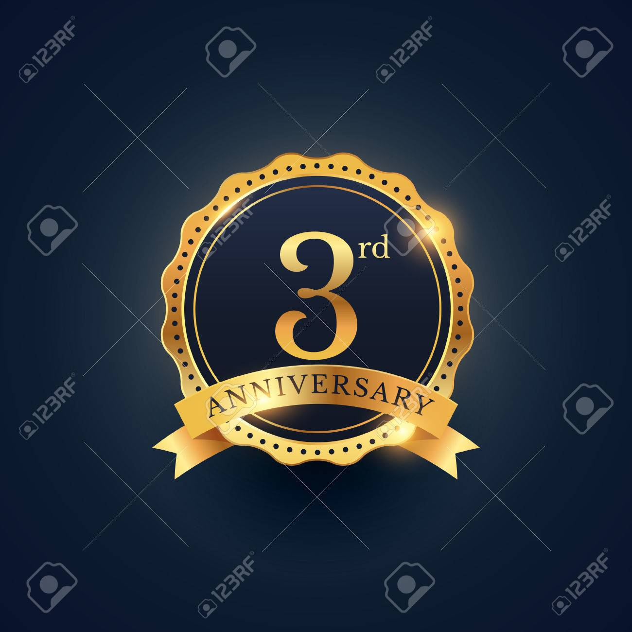3rd anniversary celebration badge label in golden color - 61039974