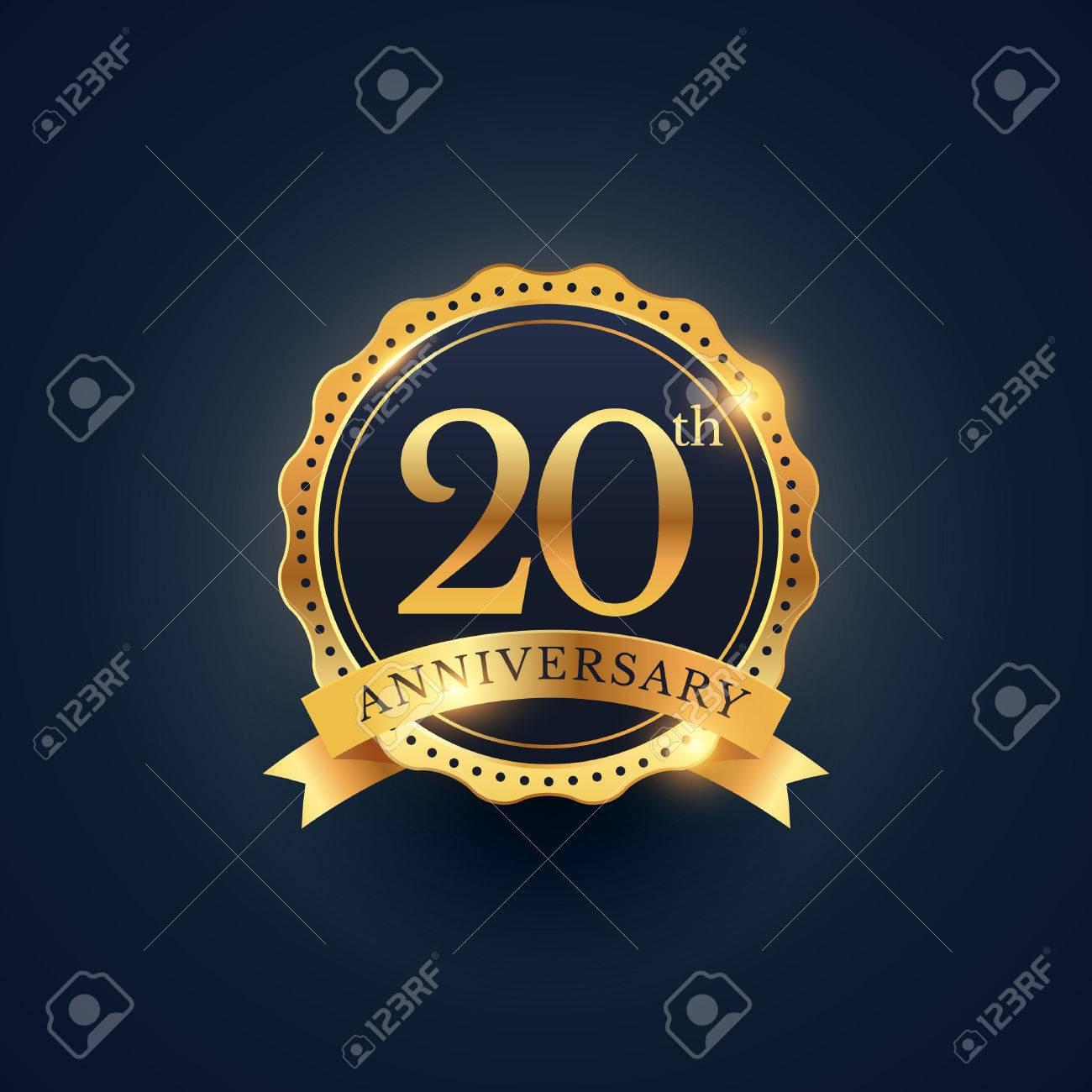 20th anniversary celebration badge label in golden color - 61039973