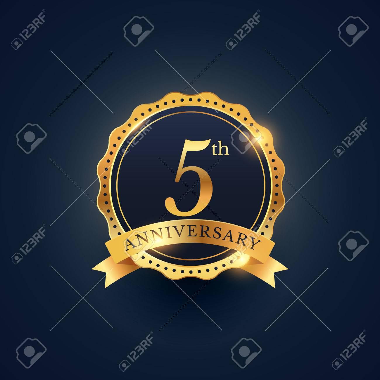 5th anniversary celebration badge label in golden color - 61039981