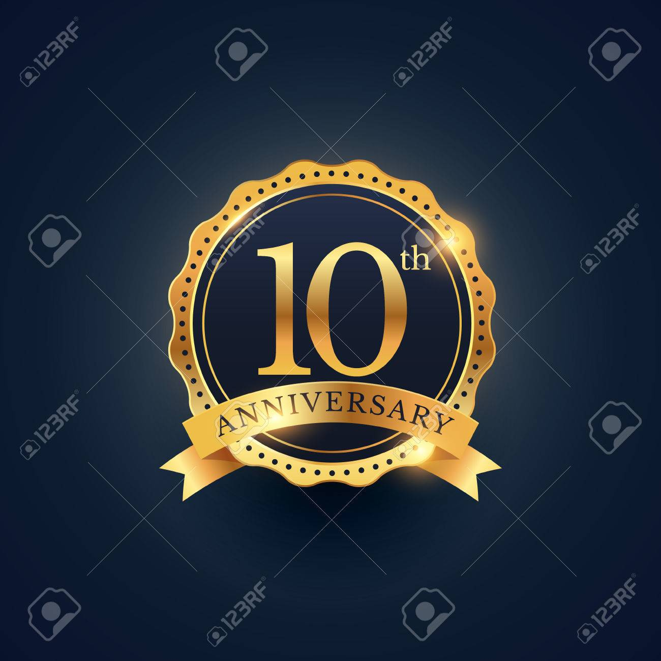 10th anniversary celebration badge label in golden color - 61040110