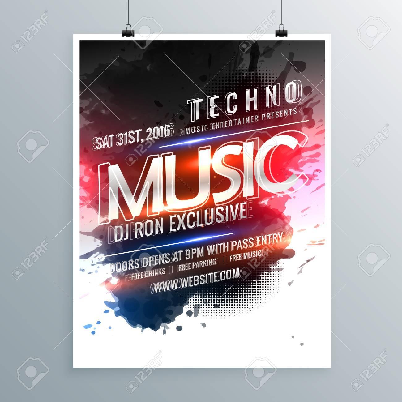 b5d00e090b5ed Foto de archivo - Plantilla de cartel de flyer promocional de fiesta de  música