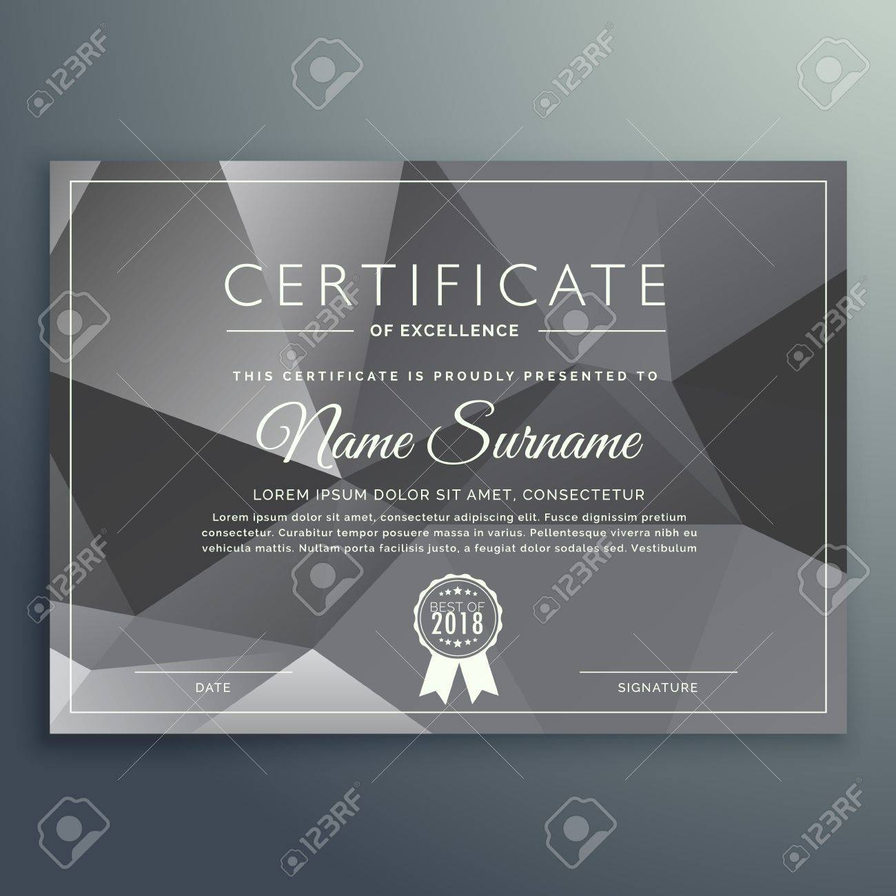 Abstract Gray Black Certificate Template Royalty Free Cliparts ...