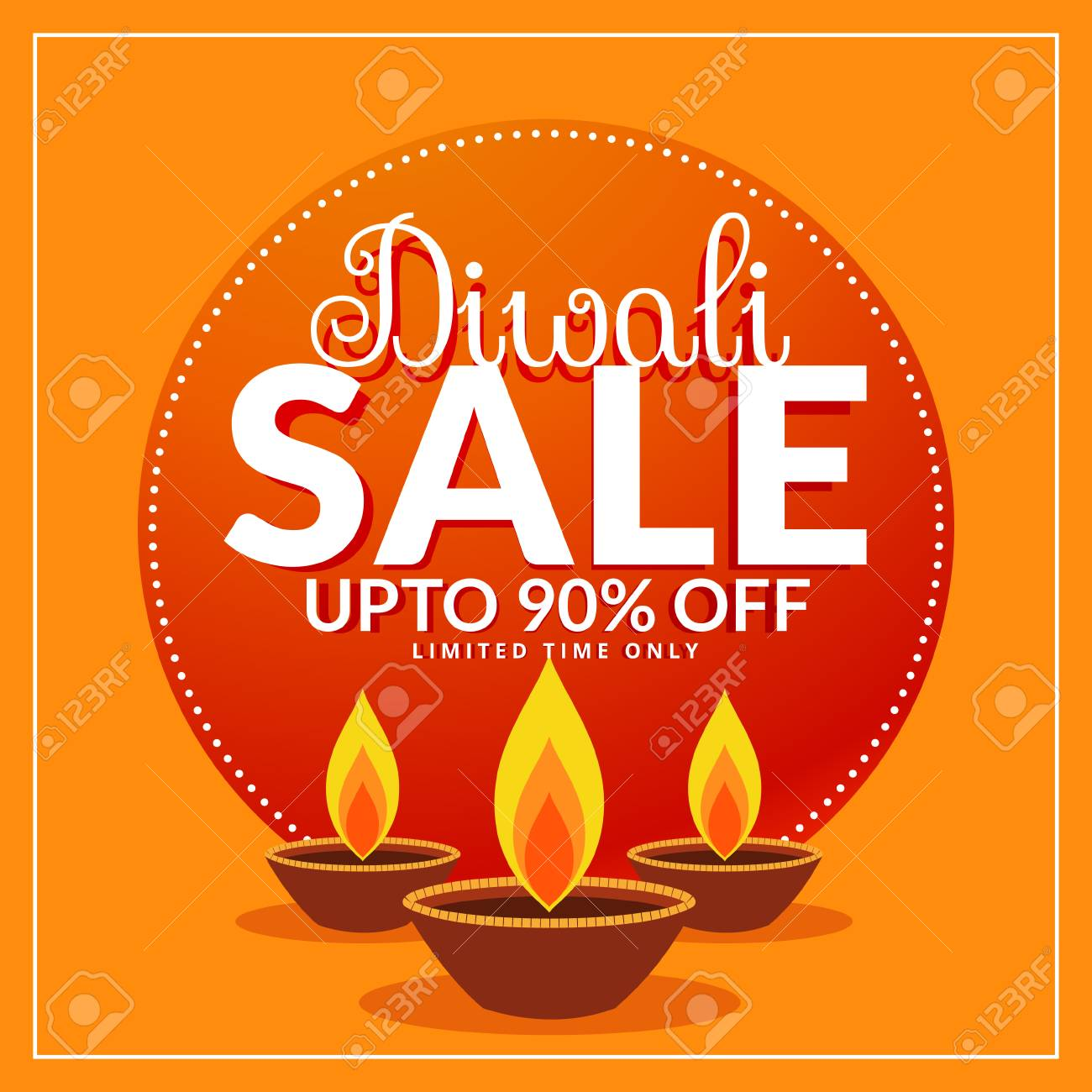 diwali festival discount and sale poster template with three