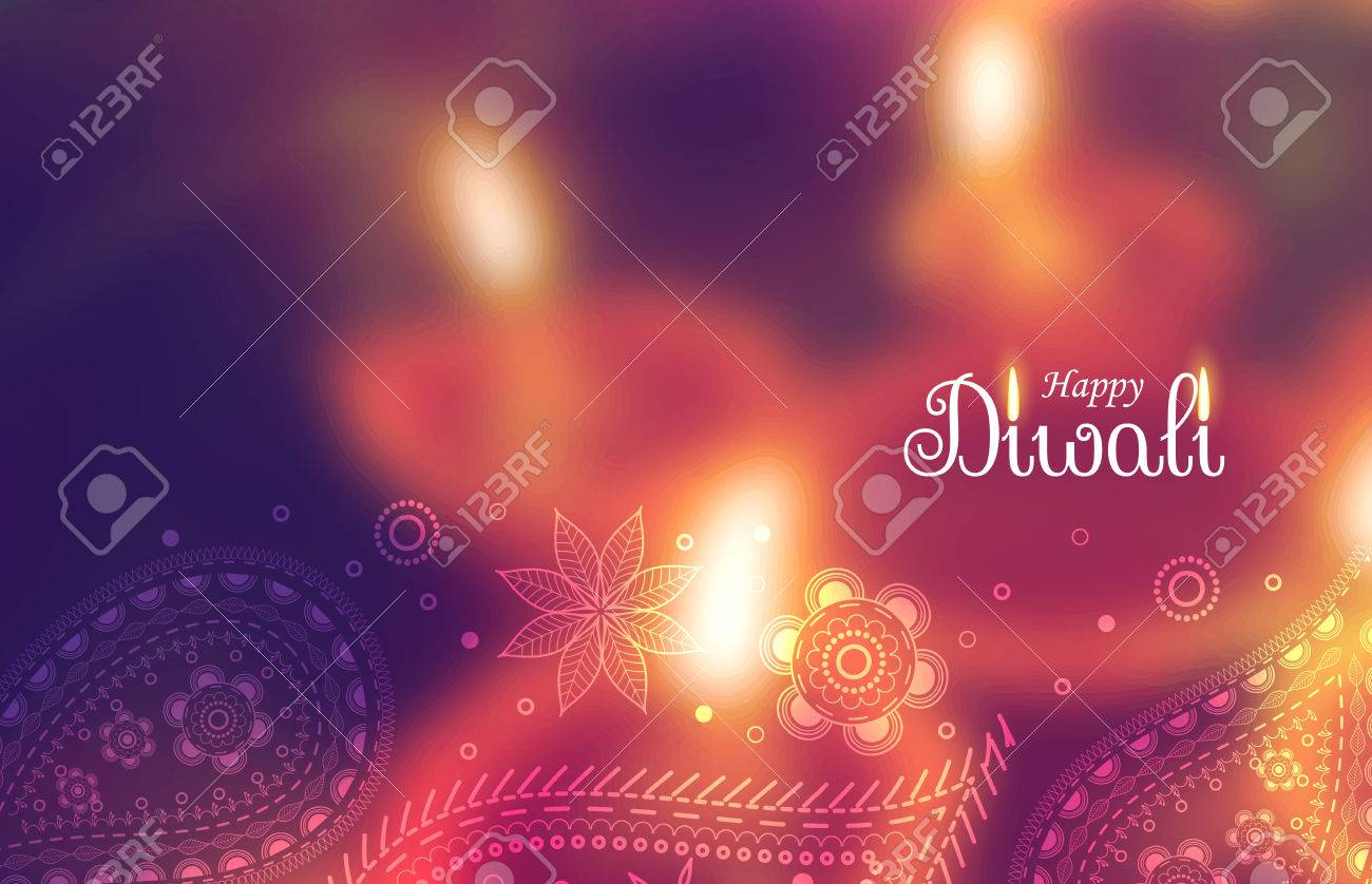 beautiful happy diwali wallpaper with blurred background and