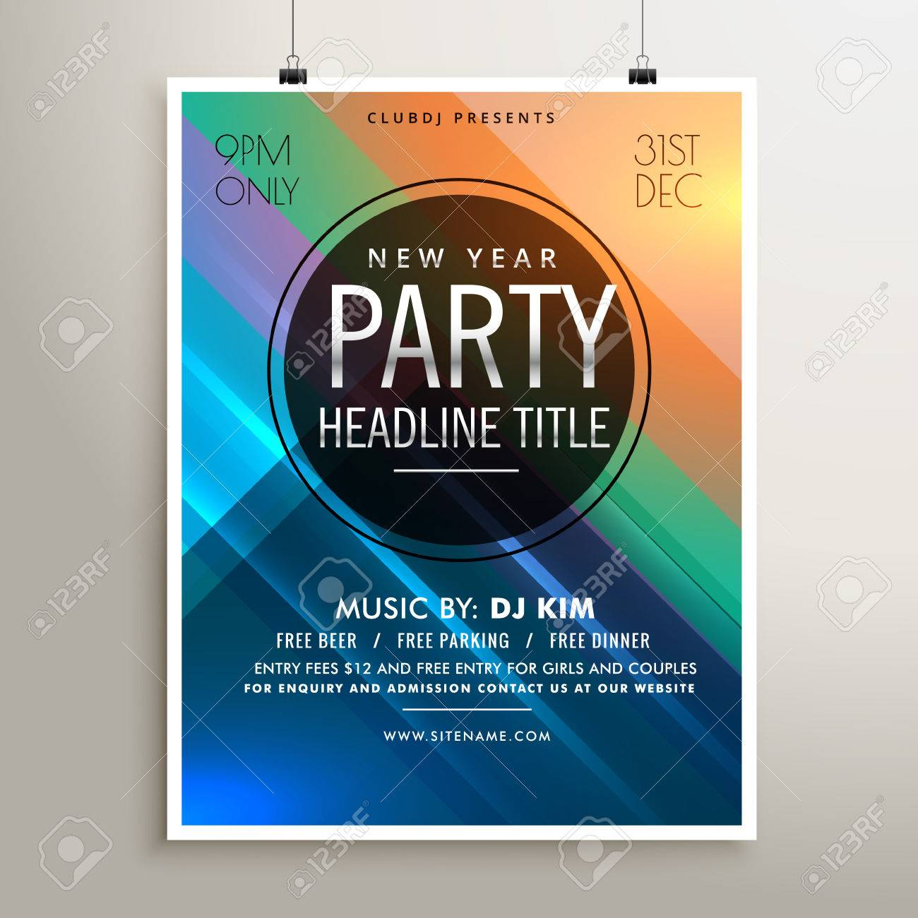 Party Event Flyer Template With Colorful Stripes Royalty Free Cliparts Vectors And Stock Illustration Image 65639648