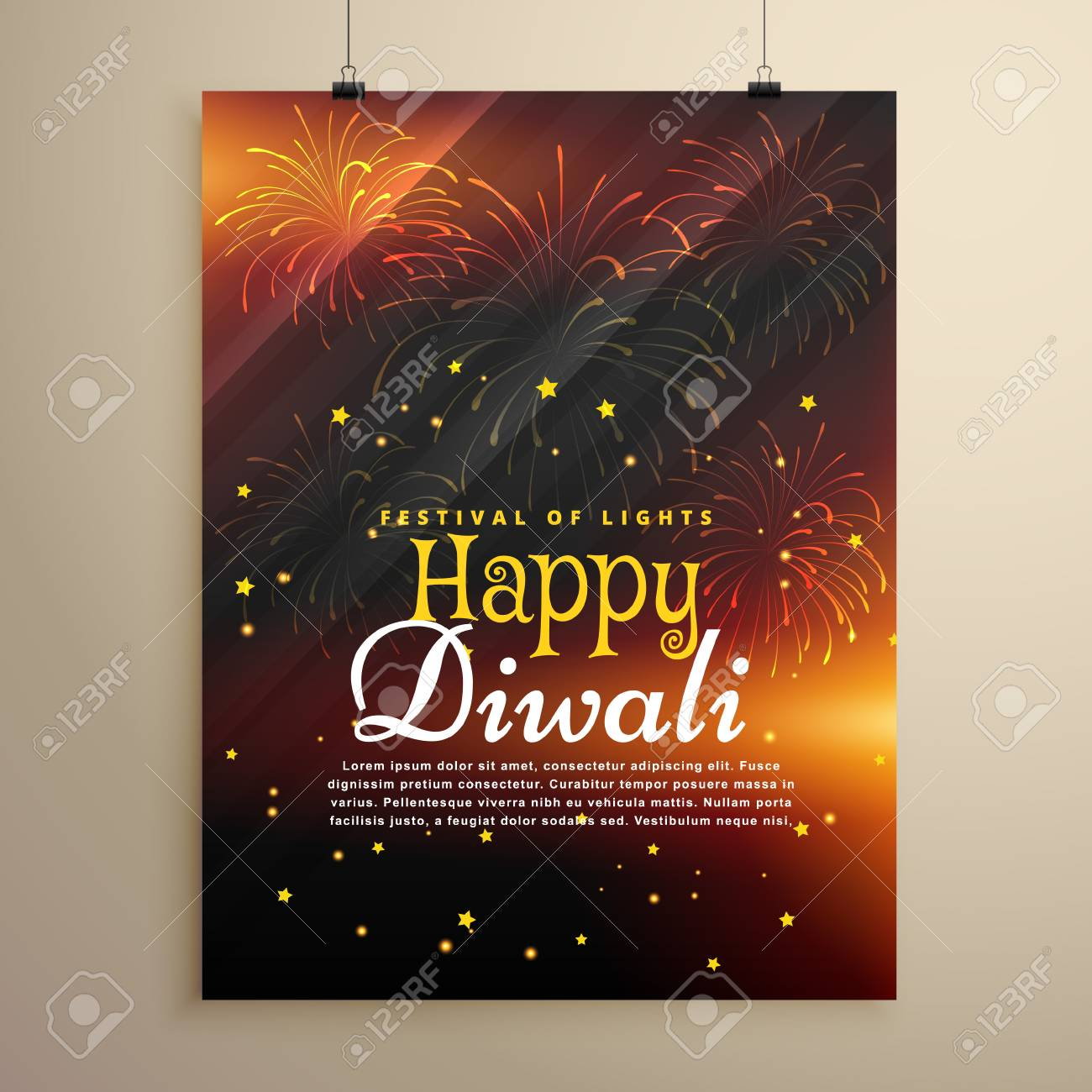 beautiful happy diwali flyer template with fireworks display stock vector 66230460