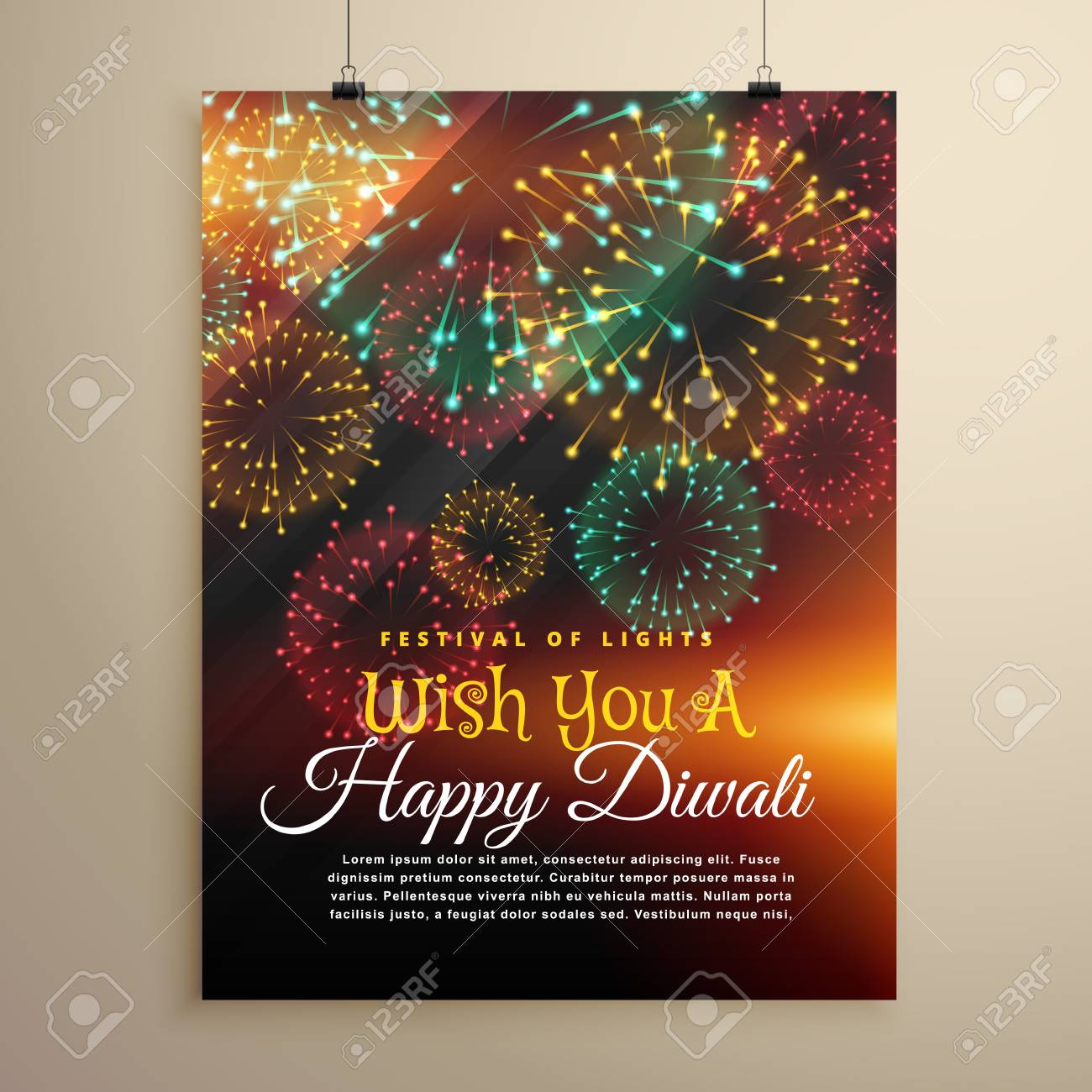 amazing diwali festival fireworks display flyer design template stock vector 66230462