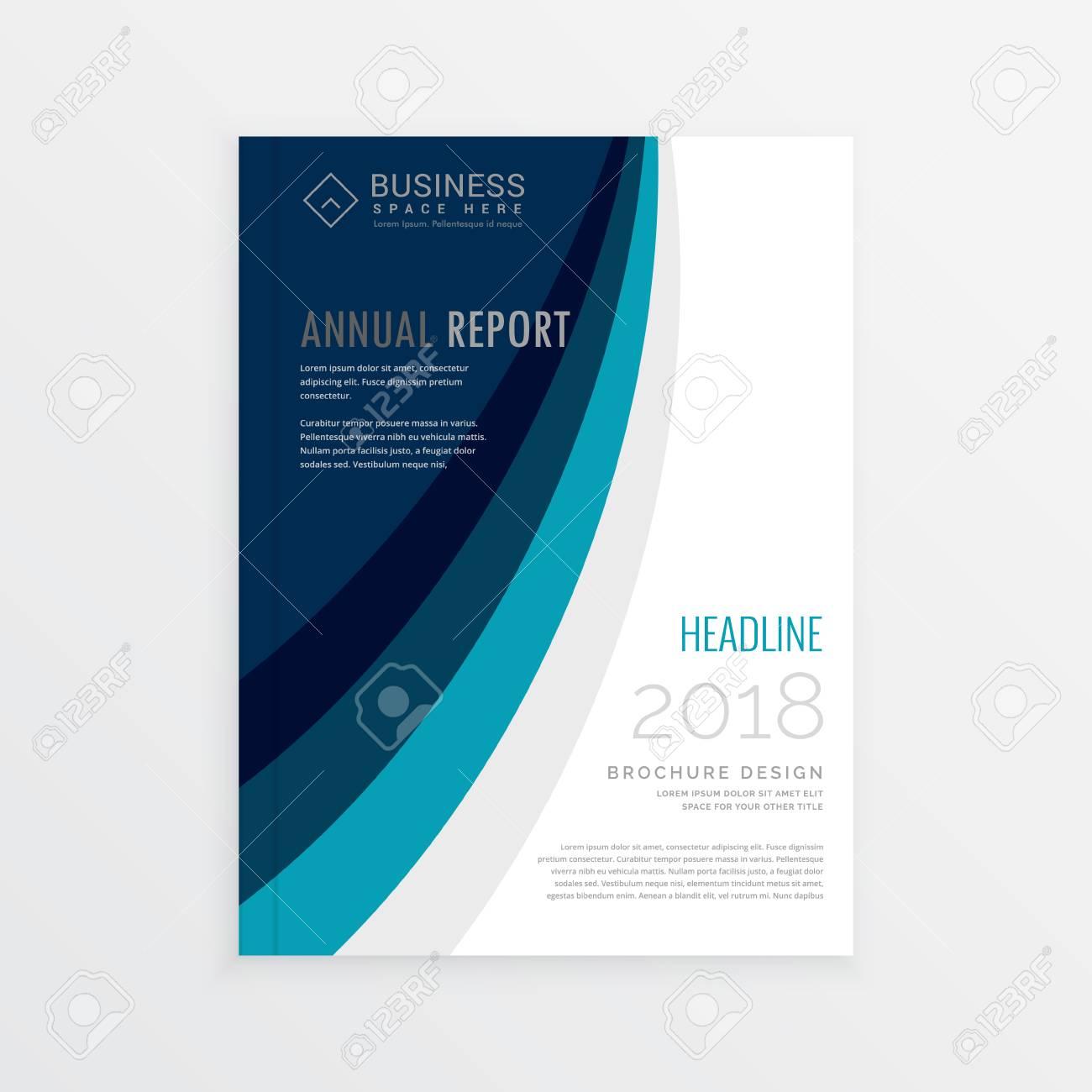 Jahresbericht Cover-Vorlage Broschüre Design Mit Blauen Linien Welle ...