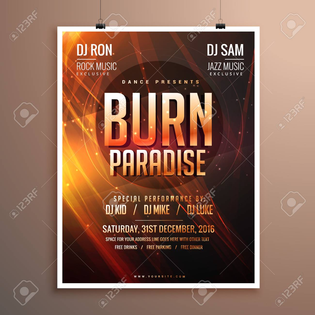 Music Party Flyer Template Card With Abstract Fire Theme Royalty ...
