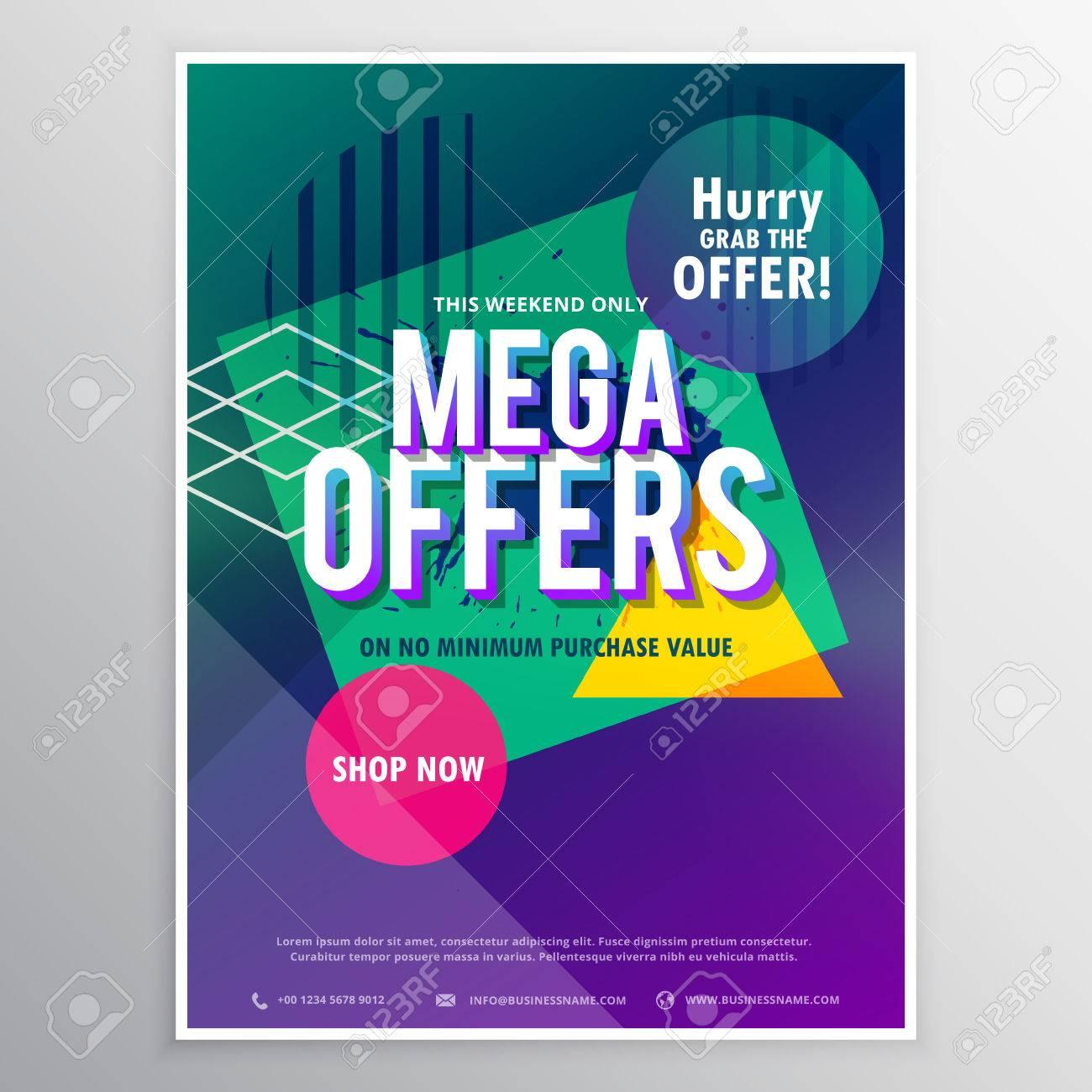 Promotional Mega Sale Brochure Flyer Template With Abstract - Promotional brochure template