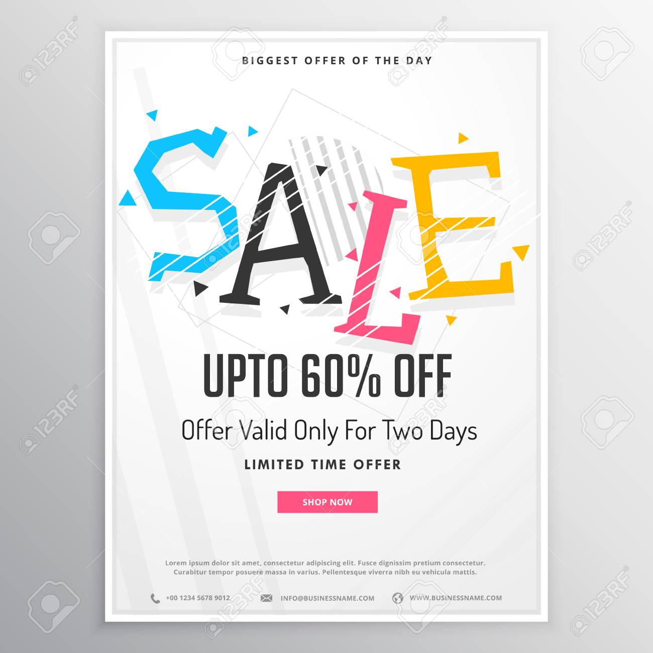 promotional sale brochure template for marketing with colorful