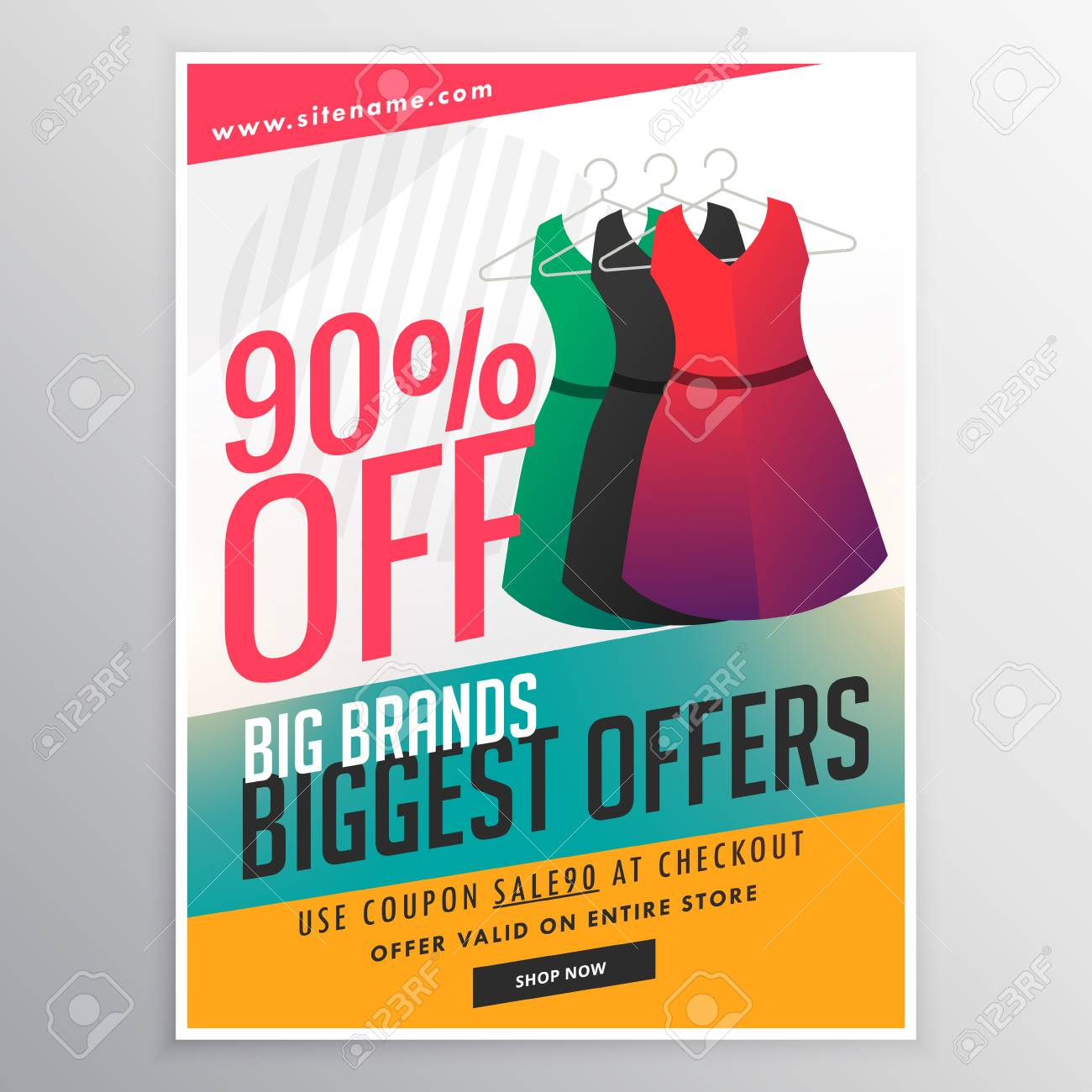Fashion Sale Discount Promotional Brochure Flyer Template With