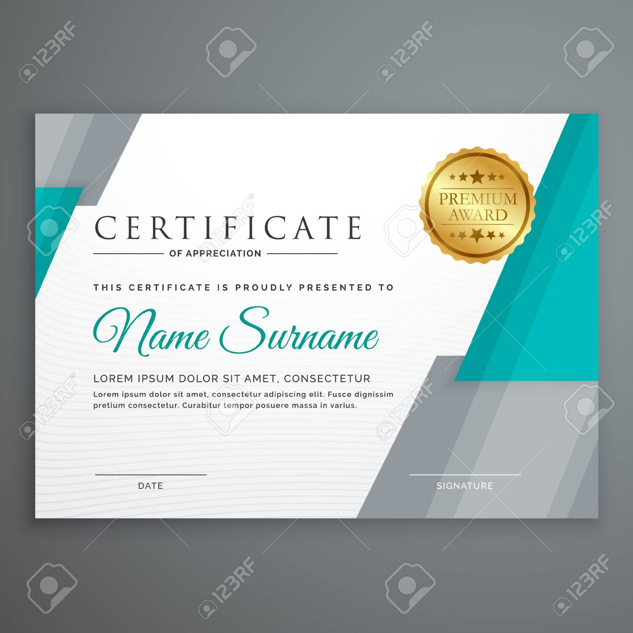 Stylish Certificate Template Design With Geometric Shapes Royalty