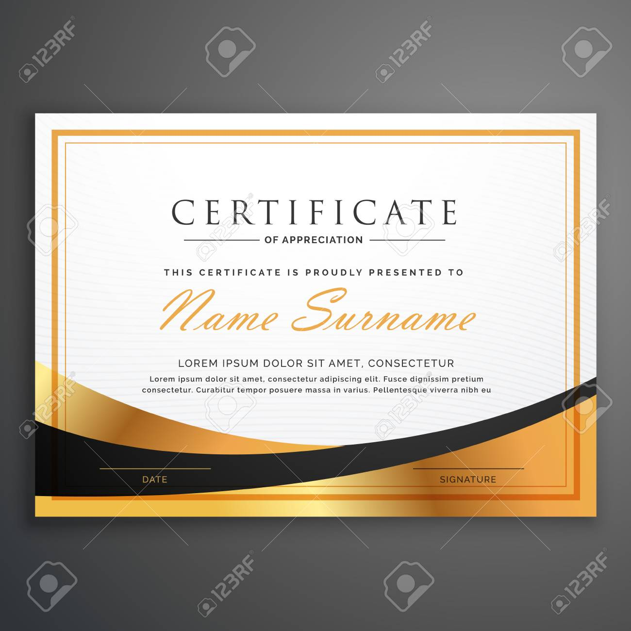 certificate template deisgn with golden wave - 66228237