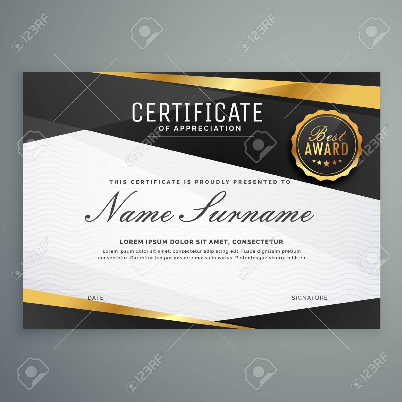 Stilvolle Zertifikat Der Wertschätzung Award Vorlage In Schwarz Und ...