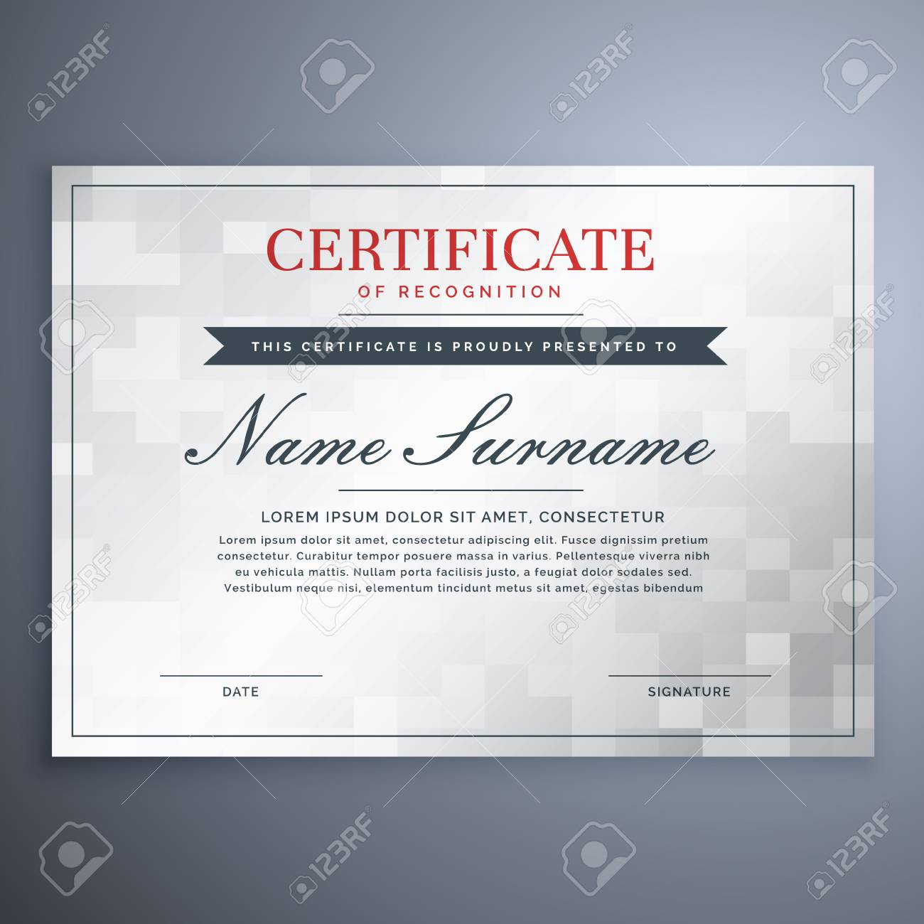 elegant certificate design with white and gray checker box royalty
