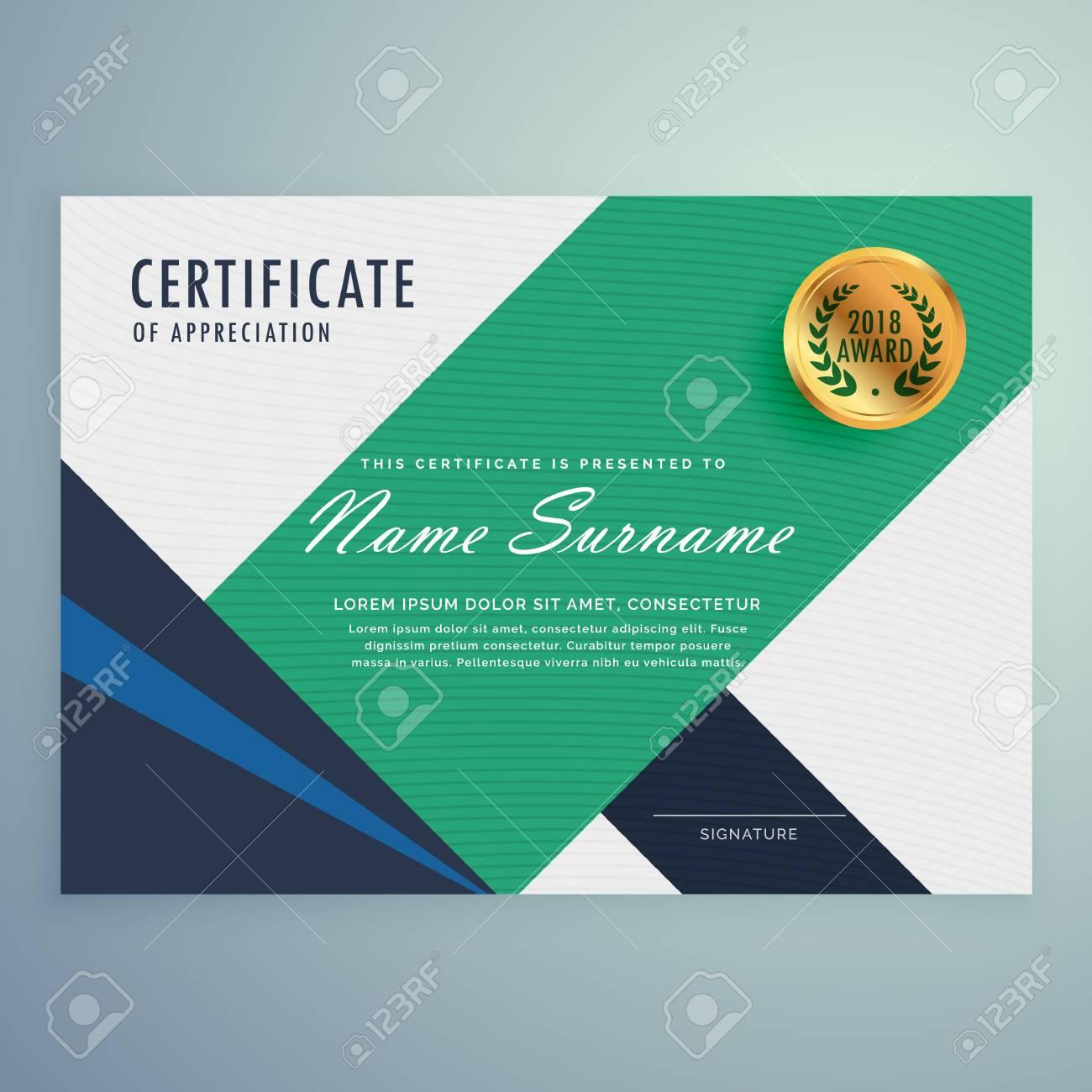 Modernes Zertifikat Der Wertschätzung Vorlage Mit Geometrischen ...